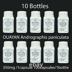 10 Bottles OUAYAN Andrographis paniculata FAH TALAI JONE 350mg 100capsules