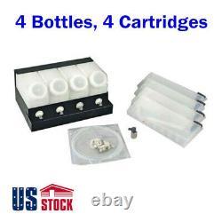 4 Bottles 4 Cartridges Bulk Ink System for Roland Mimaki Inkjet Printer Machine