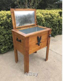 57 qt Rustic Wooden Patio Cooler with Bottle Opener & Functional Drainage System