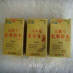 6-YEARS KOREAN HEAVEN RED GINSENG POWDER GOLD(100 g 3 Bottles)/Ship to you EMS