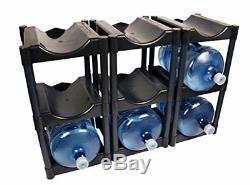 Black 3 Tier System Water Bottle Storage Rack Fits 9 Bottles (3-Pack)