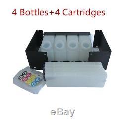 Bulk Ink System for Roland RE-640 With Vertical Cartridge-4 Bottles, 4 Cartridges