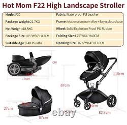 Hot Mom Pushchair 2020, 2 in 1 Baby Stroller Travel System with Bassinet Black