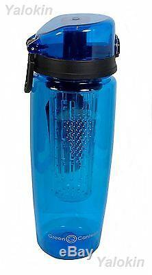 NEW BLUE Premium Fruit Infuser Bottle 1 Liter 32 Oz w Locking System BPA Free
