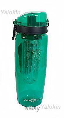 NEW GREEN Premium Fruit Infuser Bottle 1 Liter 32 Oz w Locking System BPA Free