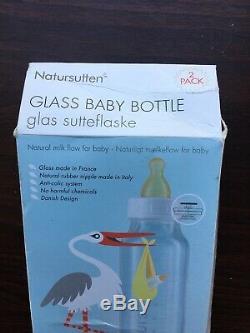 Natursutten Glass Baby Bottle 240 ml, 2 Pack Anti Colic System. New