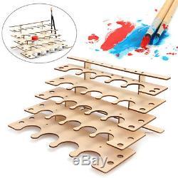 New 24 Holes Wooden Paints Bottle Storage Rack System Holder Modular Organizer