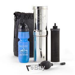 New Go Berkey Kit Water Filter System with Sport Berkey Bottle, Black Berkey Primer