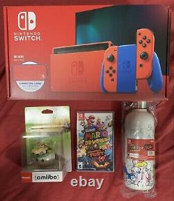 Nintendo Switch Super Mario Bundle Red Blue Edition 3D World Bowsers Fury Bottle