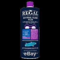 Regal Pool Care System Natural Klear Plus supplement Case of 12, 1 Quart Bottles