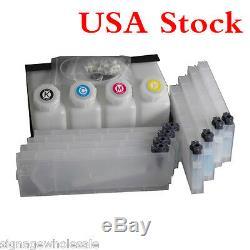 US Stock Roland Mimaki Mutoh Bulk Ink System-4 Bottles, 8 Cartridges