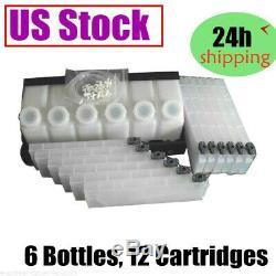US Stock- Roland Mimaki Mutoh Bulk Ink System 6 Bottles, 12 Cartridges