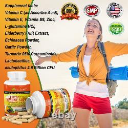 3 Bouteilles Elderberry 1200mg Vitamine C & Probiotiques Système D'immune Booster