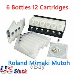 Encrier En Vrac Roland Mimaki Mutoh 6 Bouteilles 12 Cartouches USA Stock