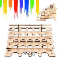 New 24 Trous Peintures En Bois Bouteille De Stockage Support System Rack Modulaire Organisateur