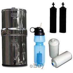 Système De Filtration D'eau Travel Berkey, Avec 2 Filtres Noirs, 2 Bouteilles De Fluorure Et De Sport